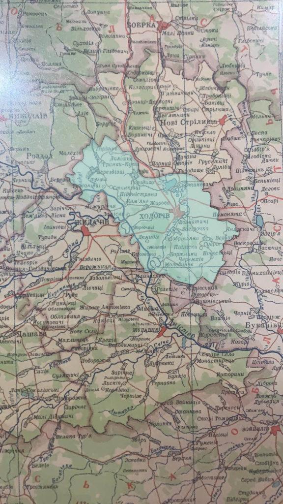Ходорівський район Дрогобицької області на карті